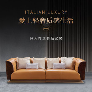 意式奢品沙發組合簡約現代客廳輕奢沙發別墅樣板間家具CK807