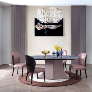 意式極簡餐桌長方形簡約現代設計師創意輕奢餐桌椅組合CK103