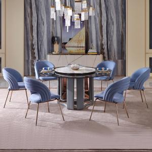 意式簡奢圓形奢石餐桌椅組合家具現代簡約家用圓桌帶轉盤餐桌 CK303
