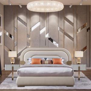 雙人現代簡約主臥室婚床套房北歐式皮床意式輕奢家具CK112
