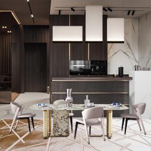 意式簡奢奢石餐桌椅組合簡約后現代大小戶型家用玄關臺餐邊柜CK301 長餐桌