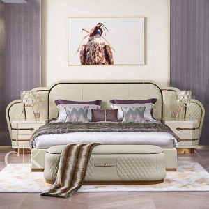 理享空間CK后現代意式輕奢床真皮雙人大床 2.0米1.8米主臥簡約婚床