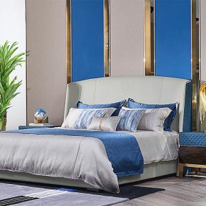 意式輕奢床現代簡約皮床雙人1.5/1.8米齊邊床婚床主臥極簡北歐床CK805