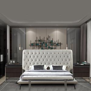 真皮床現代簡約意式極簡主臥室北歐小戶型雙人床1.8米軟包床CK201
