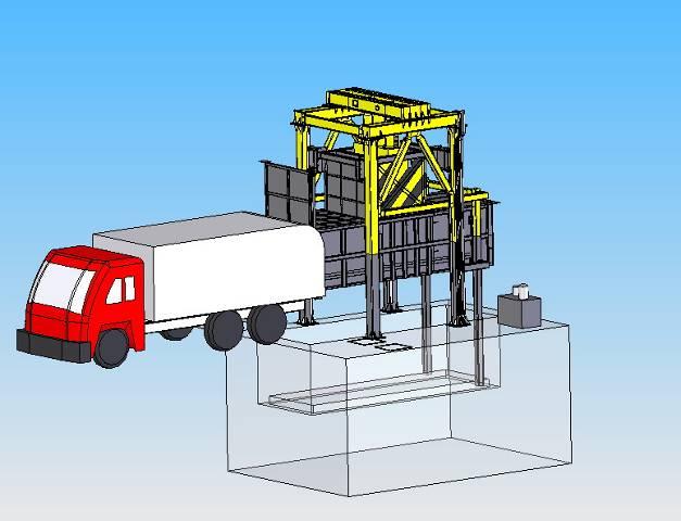 垃圾压缩站将压成的垃圾块装车