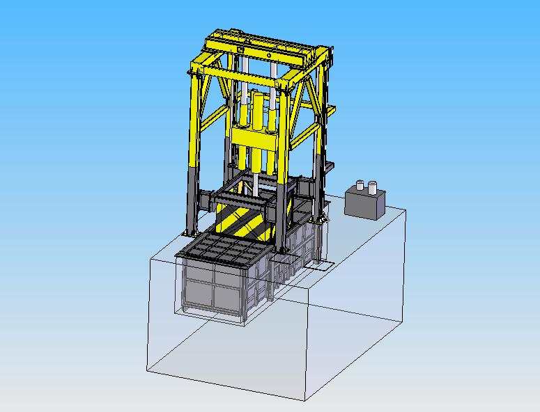 垂直垃圾压缩站对垃圾进行压缩