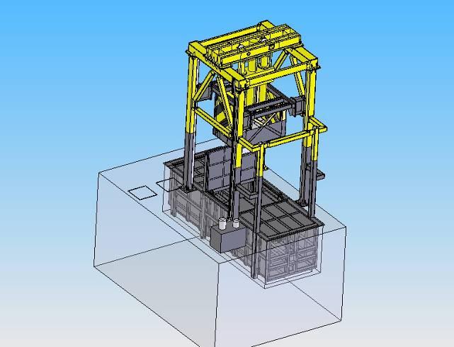 垂直式垃圾压缩机将压缩后的垃圾块进行储存