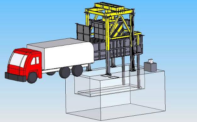 对接垃圾车,垂直垃圾压缩机利用推杆装置将垃圾块推进车厢内
