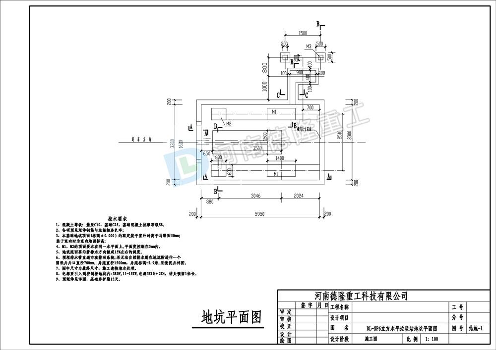 DL-SP6立方垃圾站控制柜图纸平面图