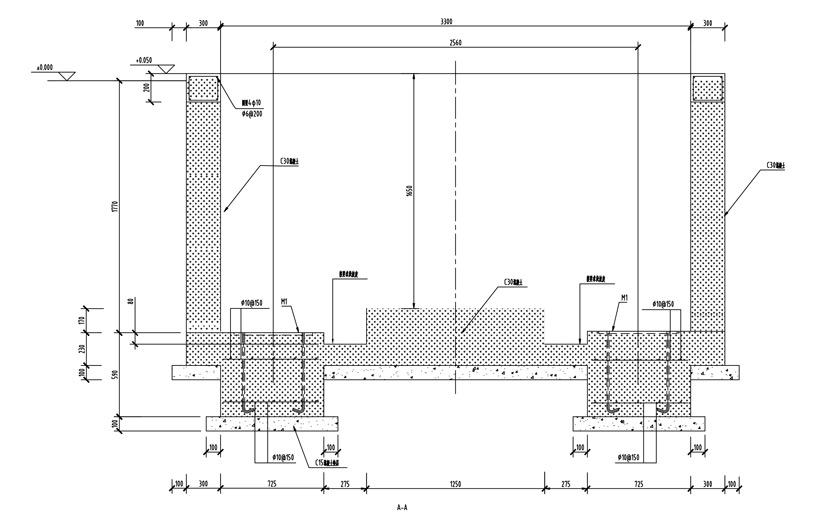 10立方水平站A-A剖视图(混凝土墙壁)