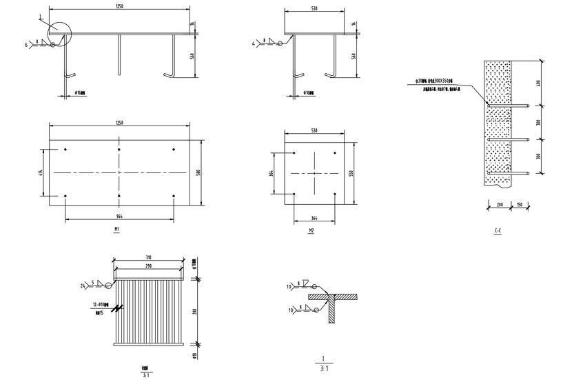 10立方水平站C-C剖视图及预埋件(混凝土墙壁)