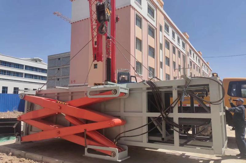 青海10立方地埋水平式垃圾压缩机安装现场