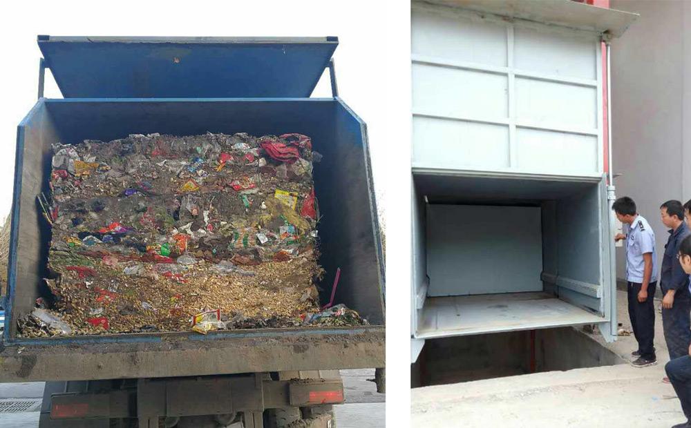 垂直式垃圾压缩机压缩后的垃圾块