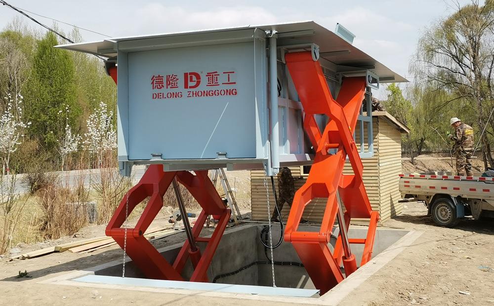 用在乡镇的地埋侧举式压缩垃圾站设备