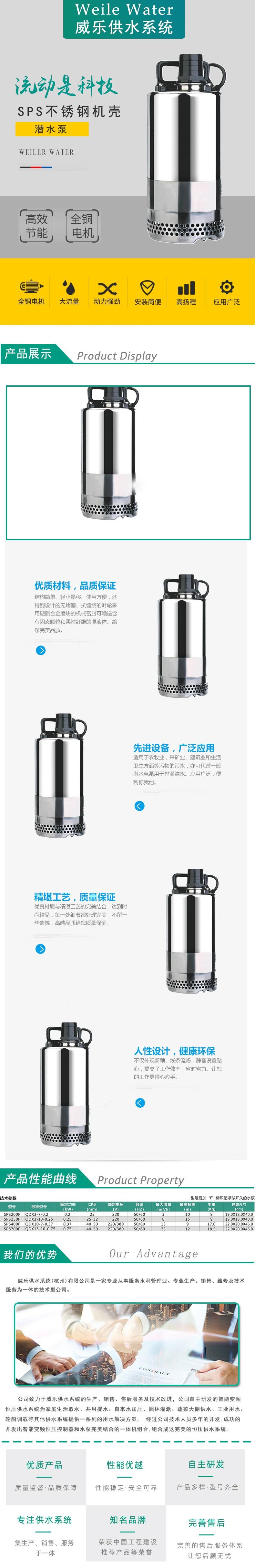 SPS型不锈钢机壳潜水泵