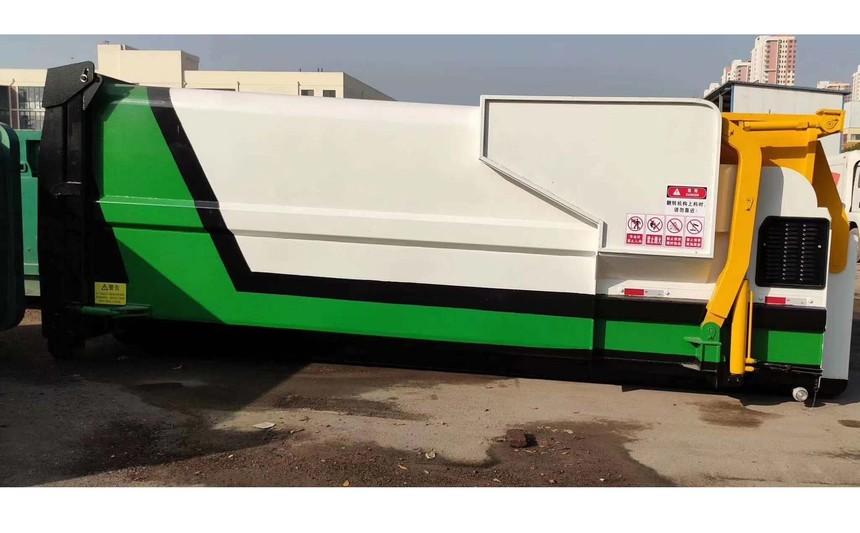 移动式水平压缩垃圾站设备应用于山东济南