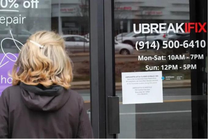 """美国纽约州,一家""""隔离区""""内的商户停止营业.jpg"""