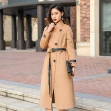 臻尚品时尚气质腰带、袖口拼皮设计感羊绒长大衣