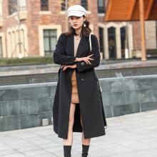 臻尚品气质时尚袖腰带拼接皮双面羊绒大衣