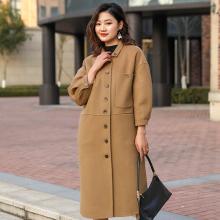 臻尚品立领单排扣时尚直筒优雅气质双面羊绒大衣
