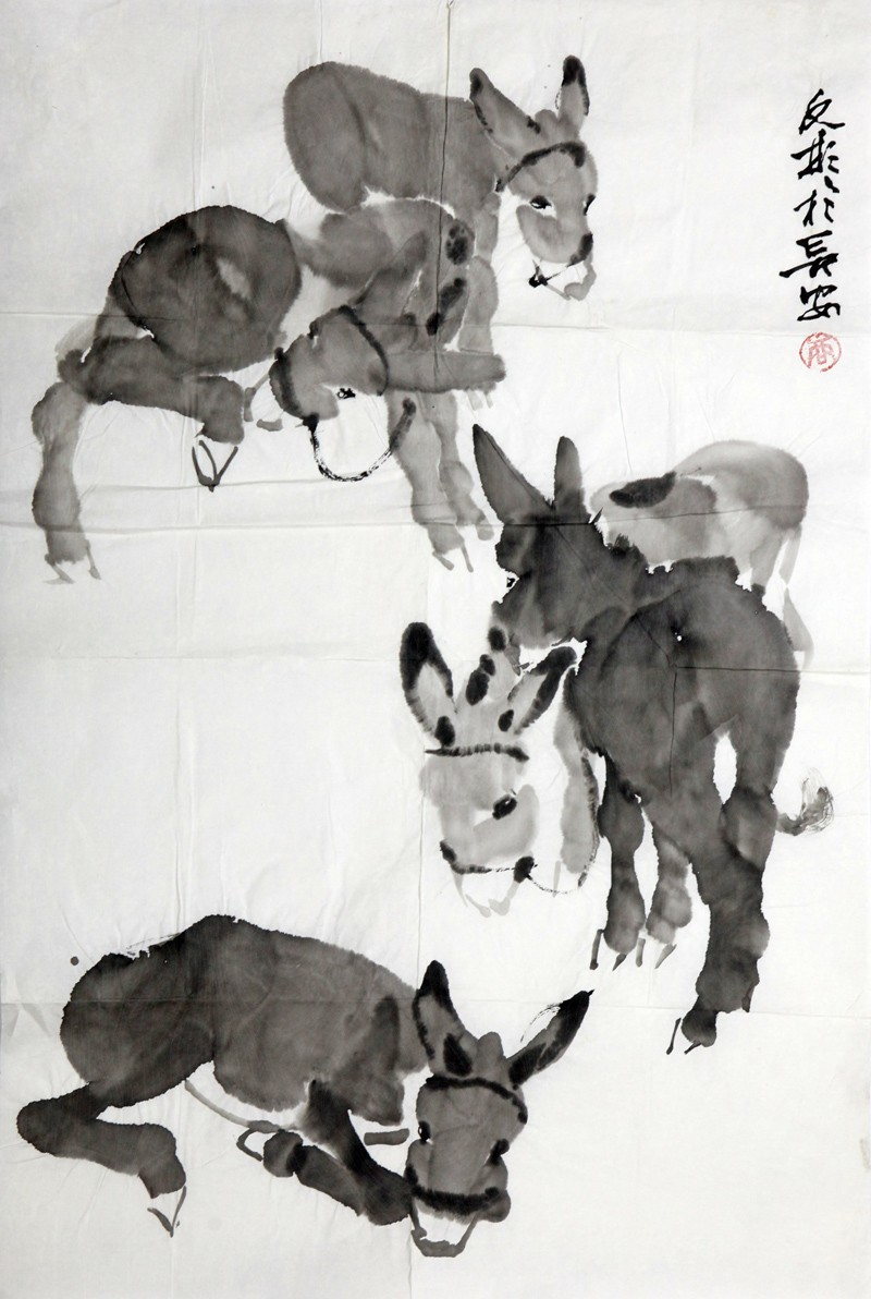 商子雍绘画作品:驴群