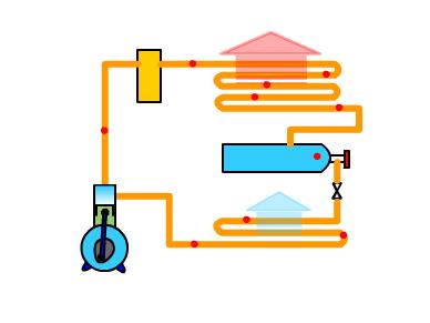 逆卡诺循环制冷系统图如下