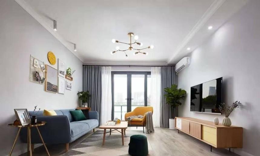 杭州下城区115㎡北欧风格装修效果图——客厅装修设计