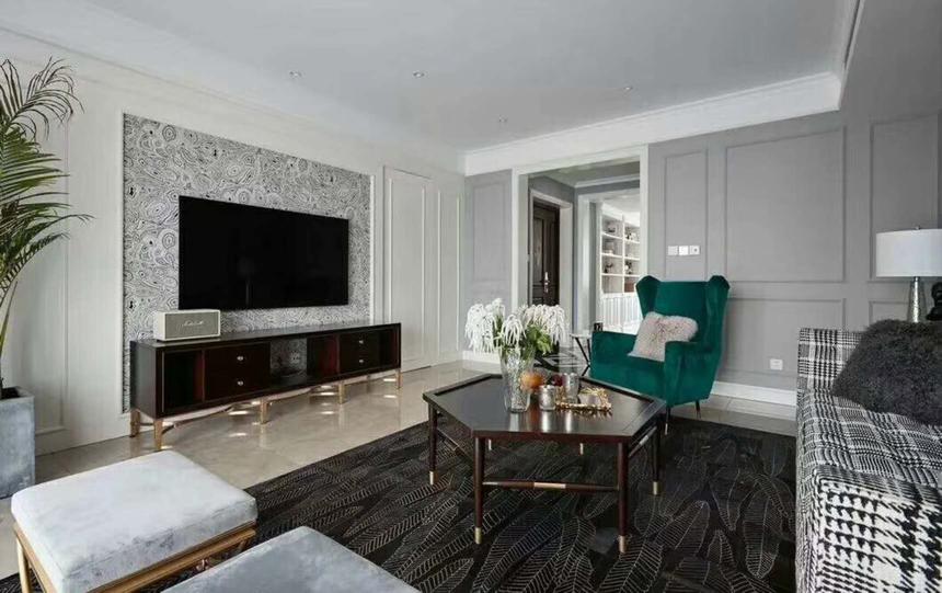 杭州萧山区132㎡新美式风格装修设计效果图——客厅