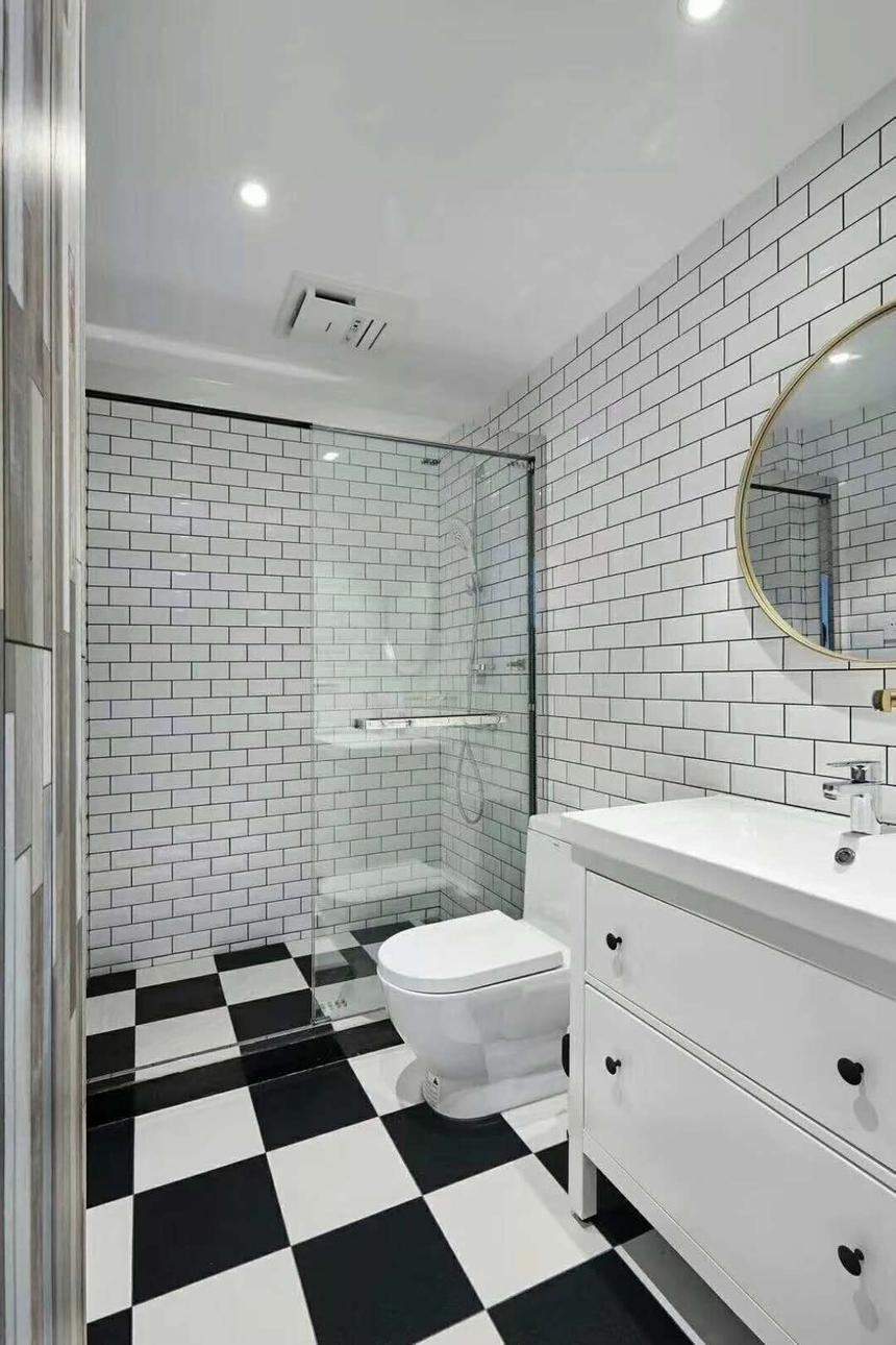 杭州萧山区132㎡新美式风格装修设计效果图——卫生间装修设计