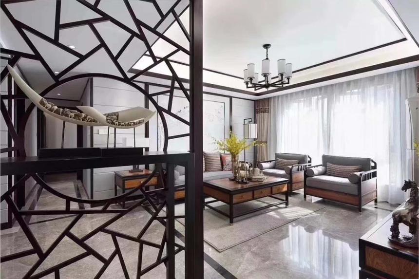 杭州滨江区200㎡新中式风格效果图——客厅装修设计