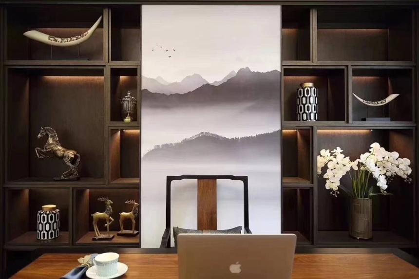 杭州滨江区200㎡新中式风格效果图——书房装修设计