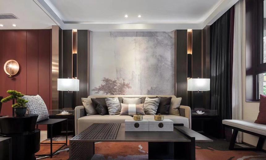 杭州上城区210㎡中式风格装修效果图——客厅