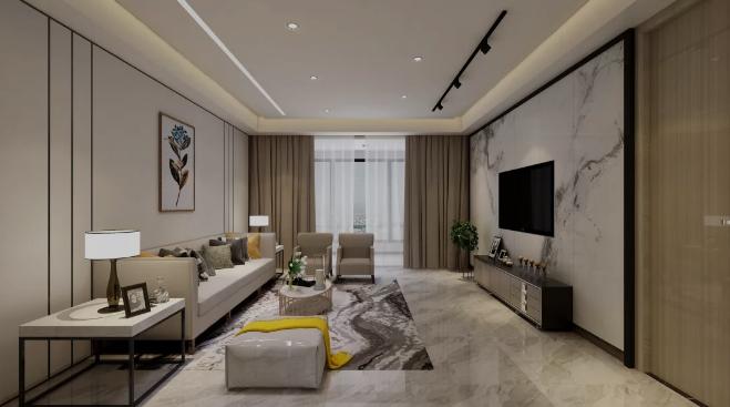 【杭州装修公司案例】150平米现代轻奢装修风格_客厅