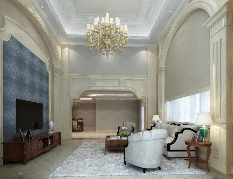杭州装修公司案例200平美式复式室私宅设计_客厅