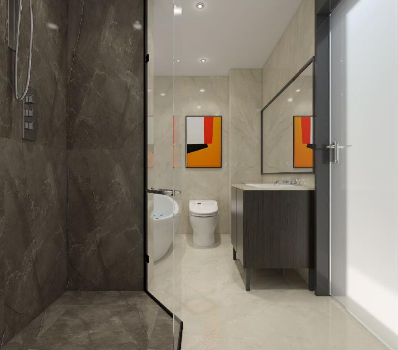 杭州装修公司案例200平美式复式室私宅设计_卫生间