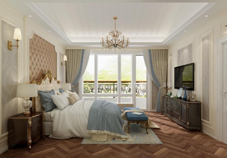 杭州装修公司案例200平美式复式室私宅设计_老人房