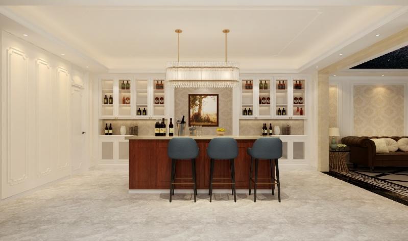 杭州装修公司案例200平美式复式室私宅设计_吧台