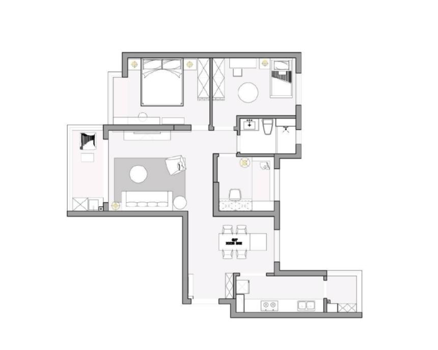 杭州装修公司案例效果图,旧房改造 灰白暮色_结构图