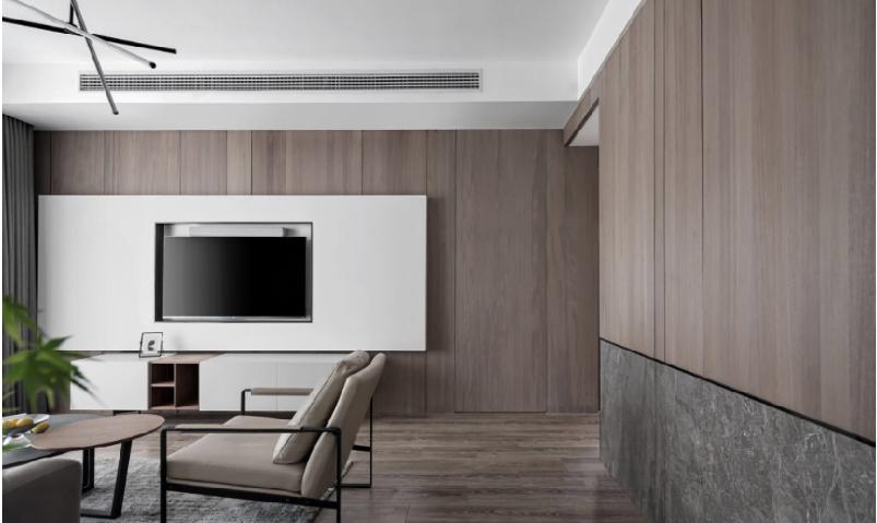 杭州装修公司案例效果图,旧房改造 灰白暮色_客厅