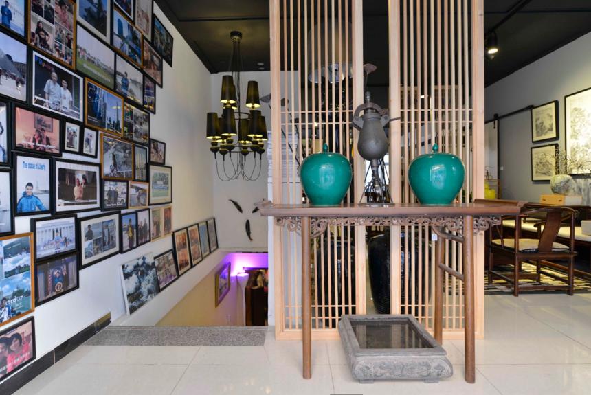 杭州装修公司中式风格工作室装修玄关设计