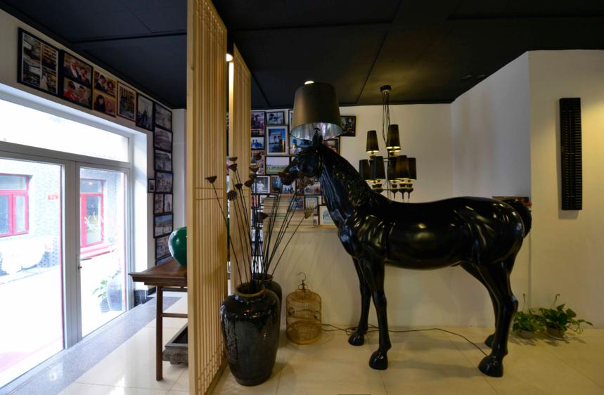 杭州装修公司中式风格工作室装修造型落地灯图片