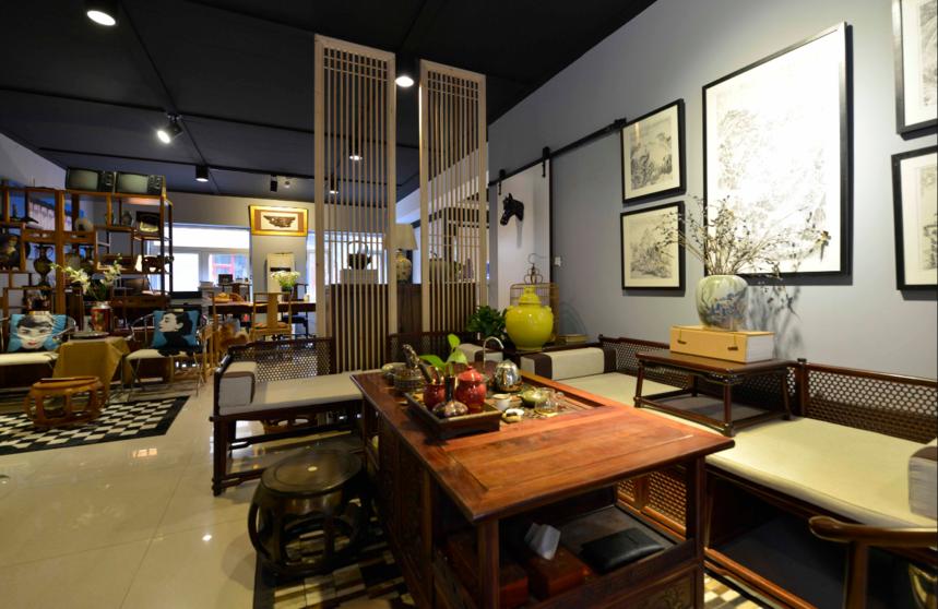 杭州装修公司中式风格工作室装修会客区布置图