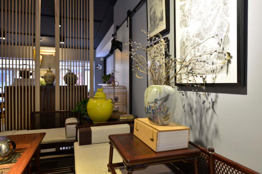 杭州装修公司中式风格工作室装修茶台装饰摆件