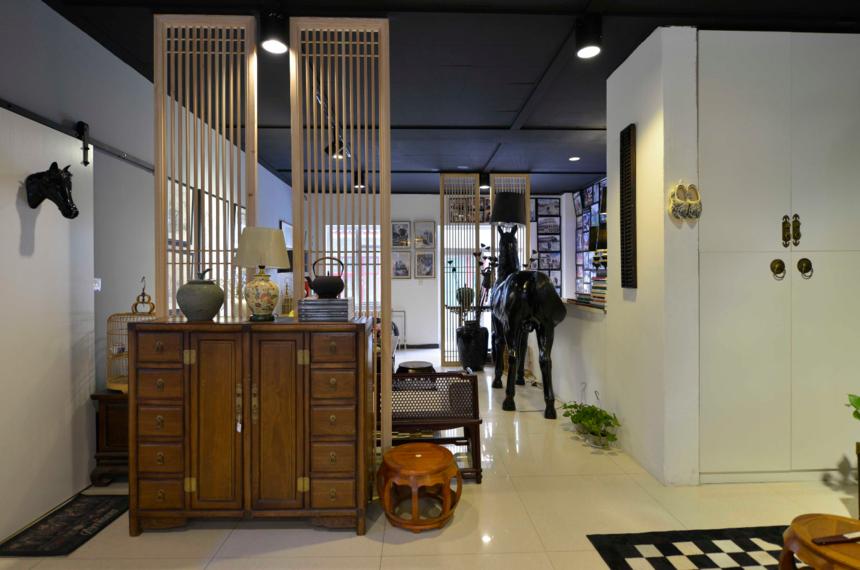 杭州装修公司中式风格工作室装修玄关柜图片