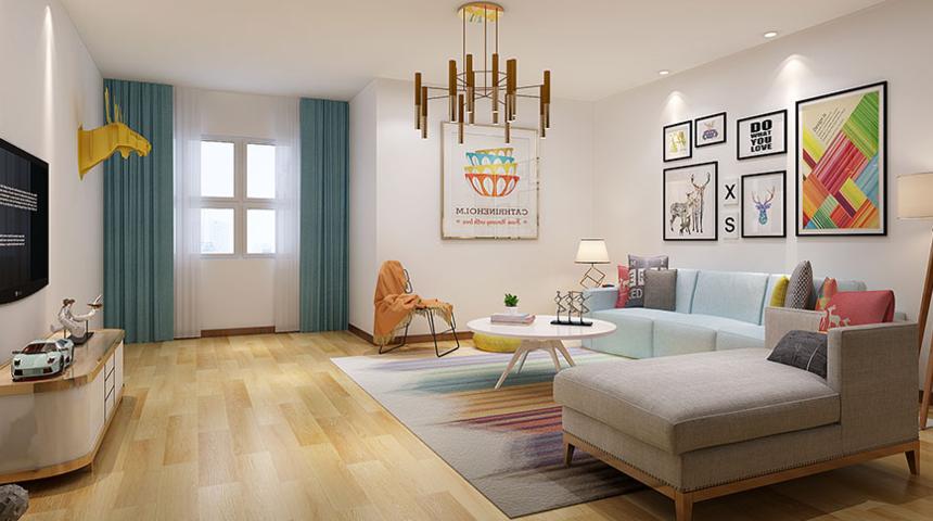 杭州装修公司2室1卫1厅110平米现代简约风格_客厅