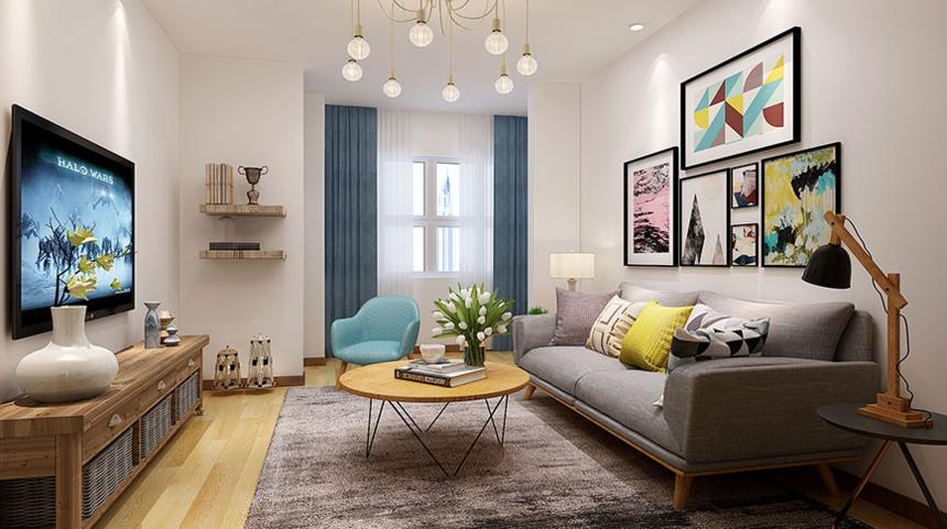 杭州装修公司1室1卫1厅74平米现代单身北欧风格_客厅