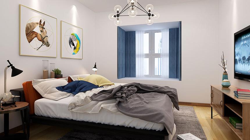 杭州装修公司1室1卫1厅74平米现代单身北欧风格_卧室