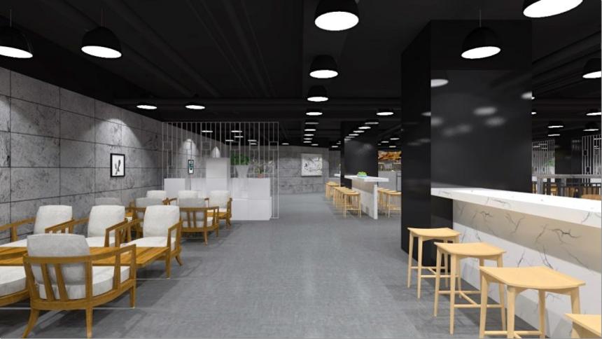 杭州装修公司设计_餐厅装修入口的左侧视角