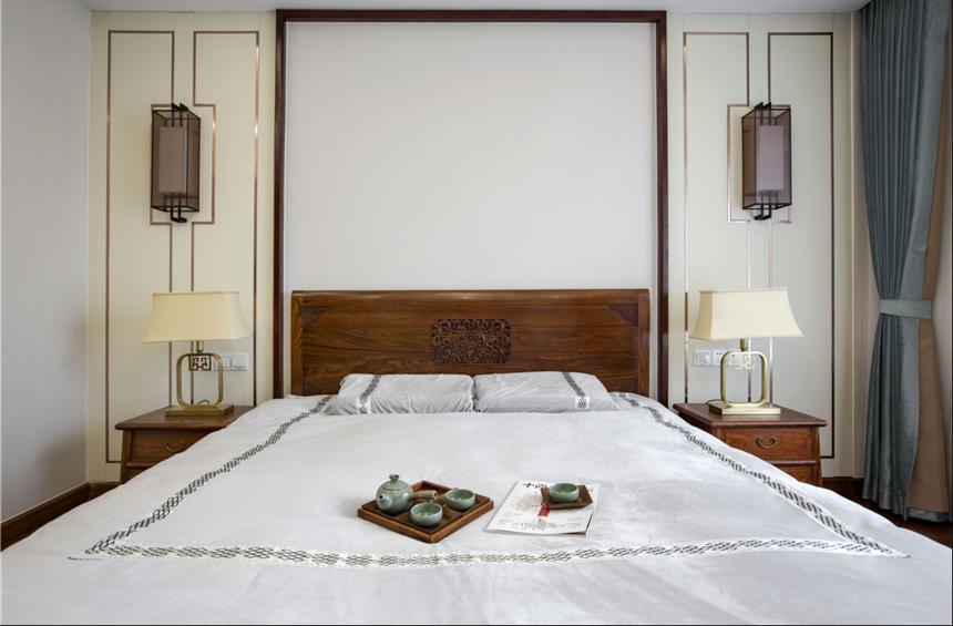 杭州庭院装修公司中式风格别墅卧室装修效果图