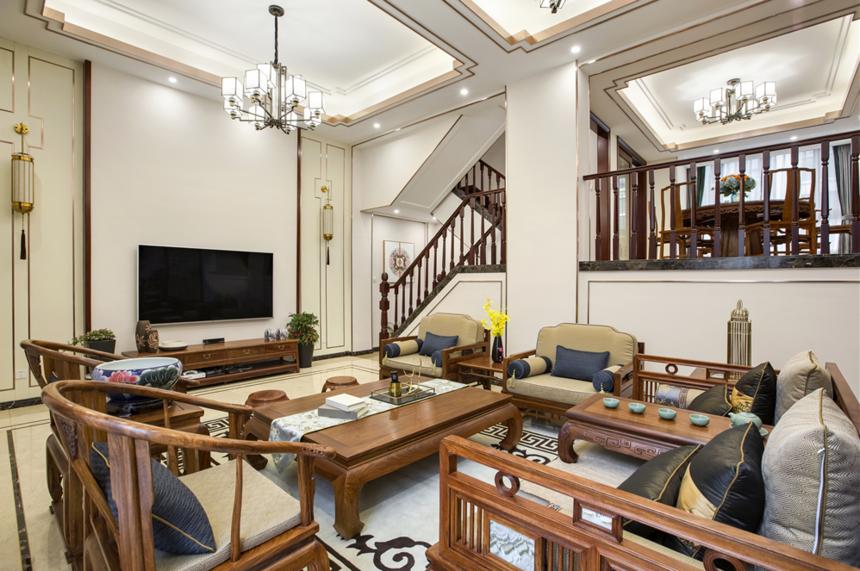 杭州装修公司中式风格别墅客厅装修效果图